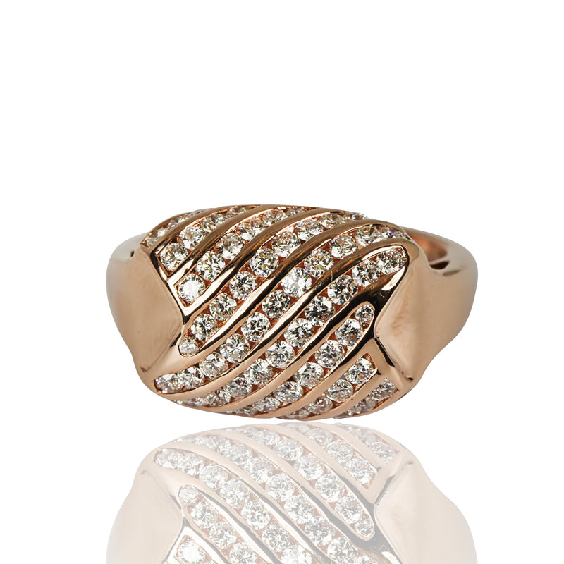 14k Gold Rectangular Diamond Ring