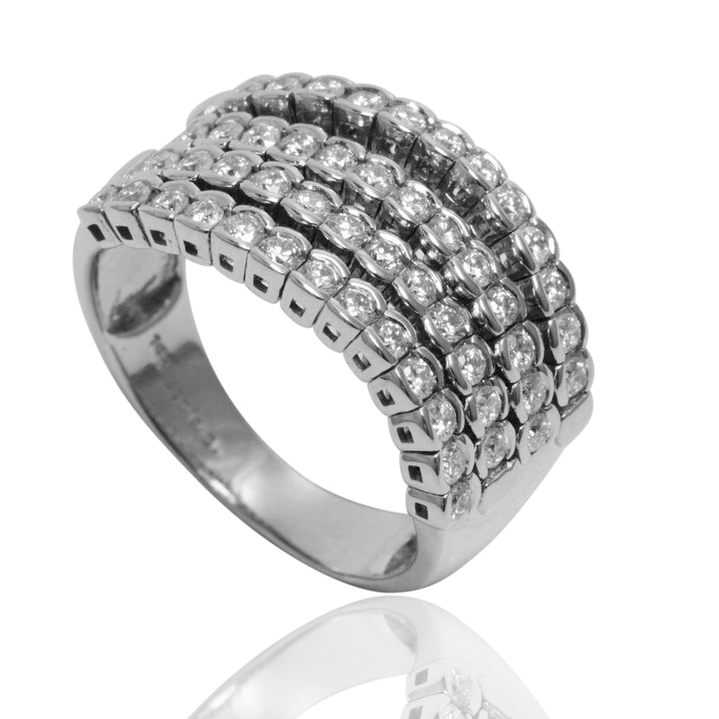 14k Gold Diamond Half Bezel Flex Ring