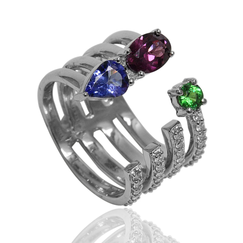 14k Gold Multi Gemstone & Diamond Ring