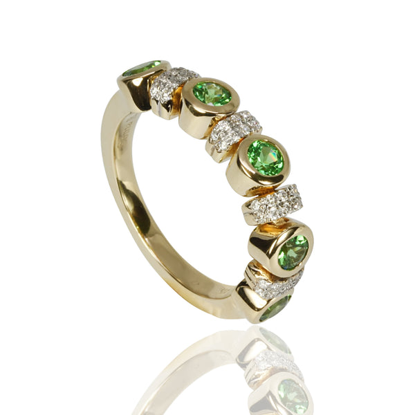 14k Gold Flex Tsavorite & Diamond Ring