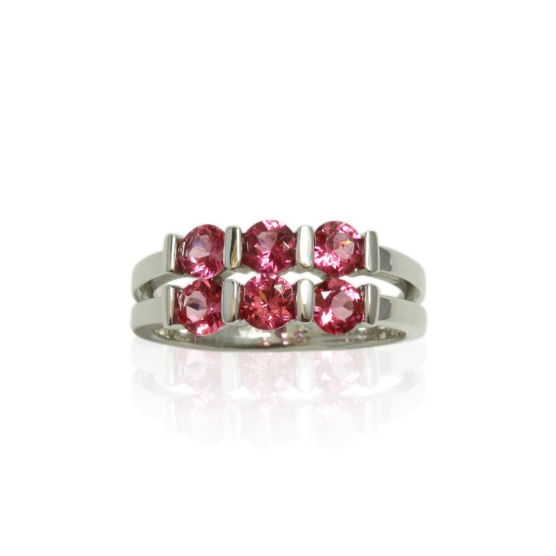 14k Gold Pink Spinel 6 Stone Ring