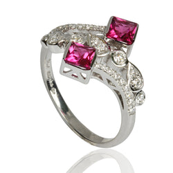 14k Gold Rubellite & Diamond Ring