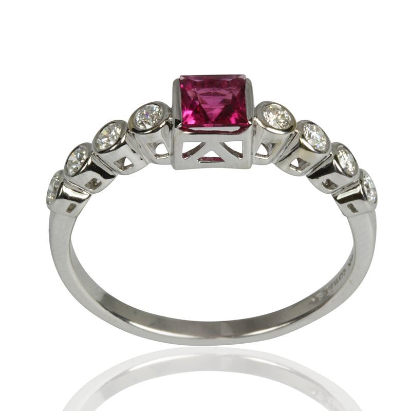 14k Gold Diamond Rubellite & Diamond Ring