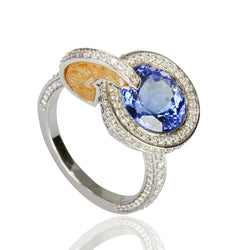 14k Gold Tanzanite & Spessartite Cocktail Ring