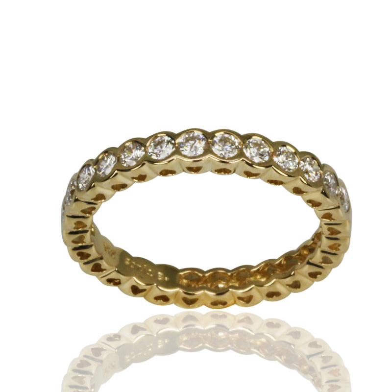 14k Gold & Diamond Scalloped Bezel Ring