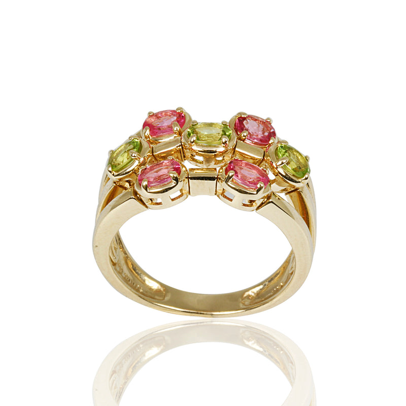 14kt Gold Pink Spinel & Peridot Flex Ring
