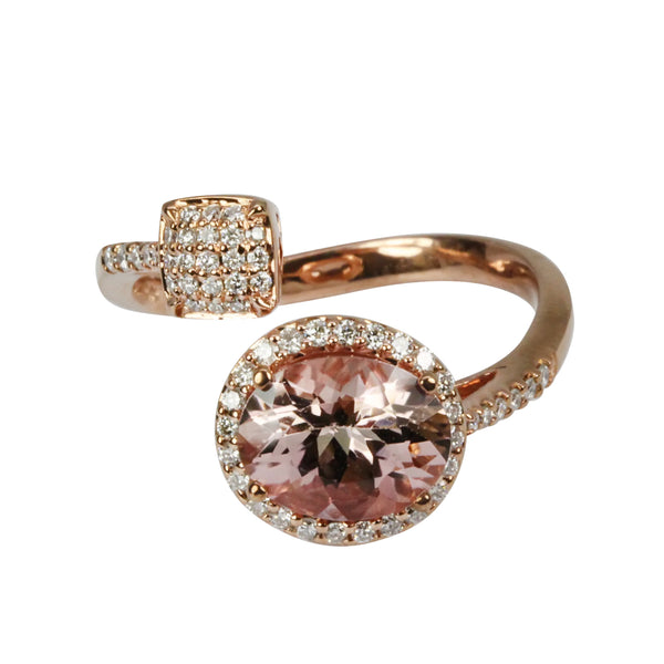 14k Gold Salmon Tourmaline & Diamond Ring