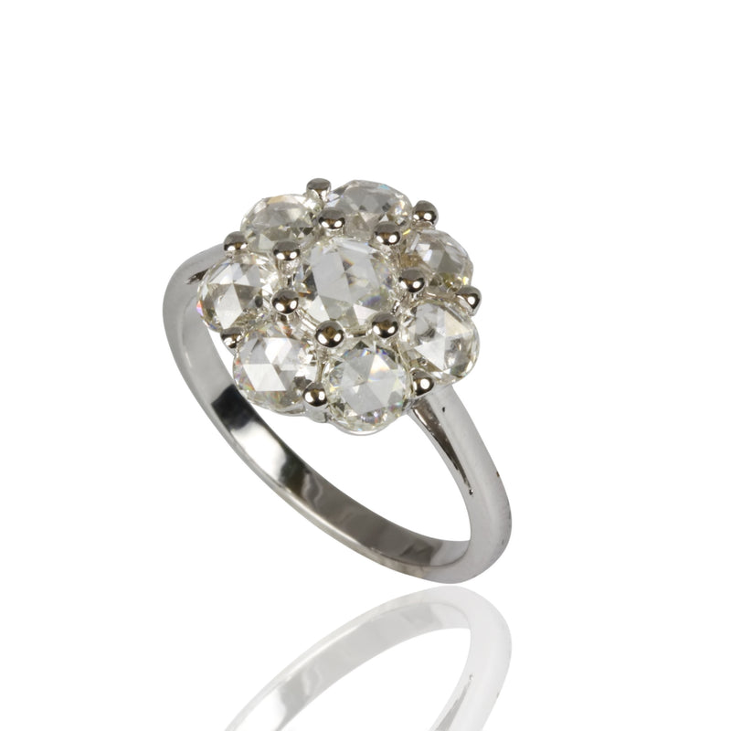 14k Gold Rose Cut Diamond Cluster Ring