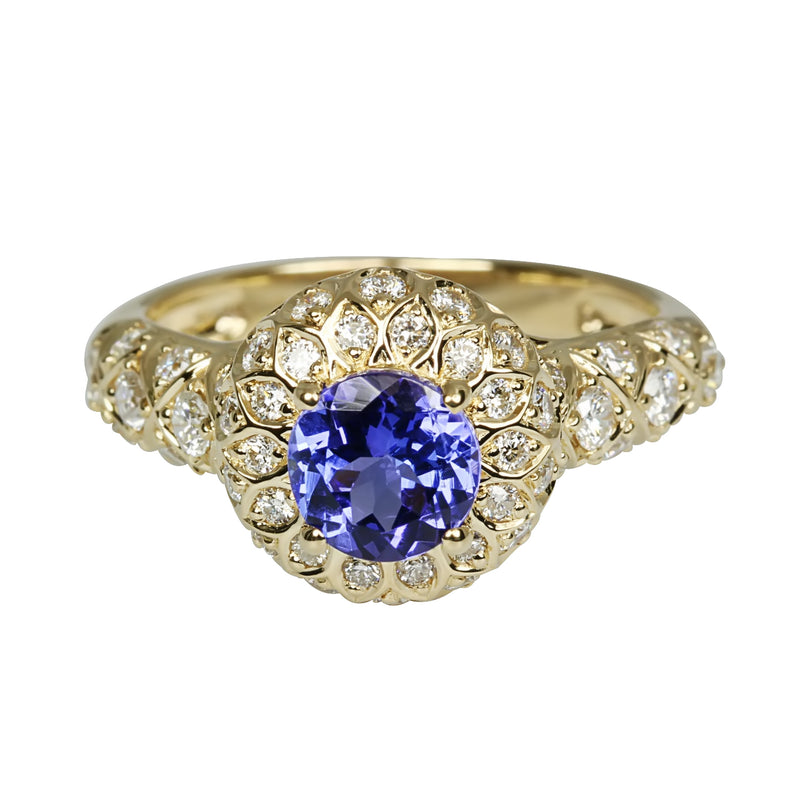 14k Gold Tanzanite & Diamond Ring