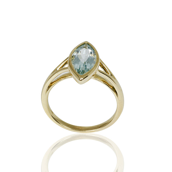 14k Gold Marquise Aquamarine Ring