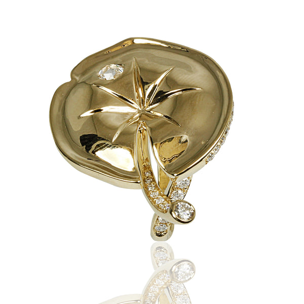 14k Gold Diamond Lily Pad Ring