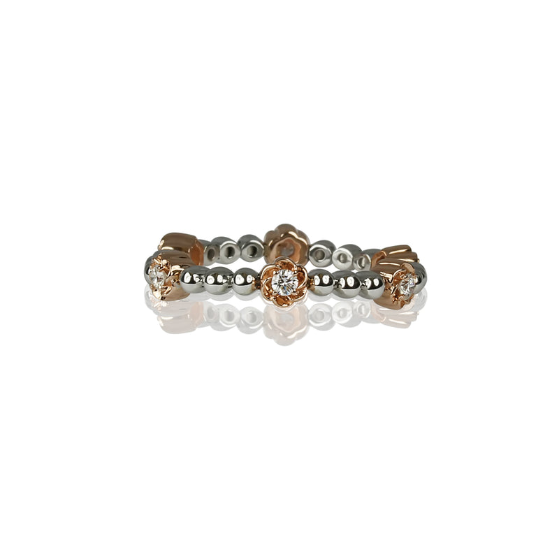 14k Gold Flower Bead & Diamond Flex Ring