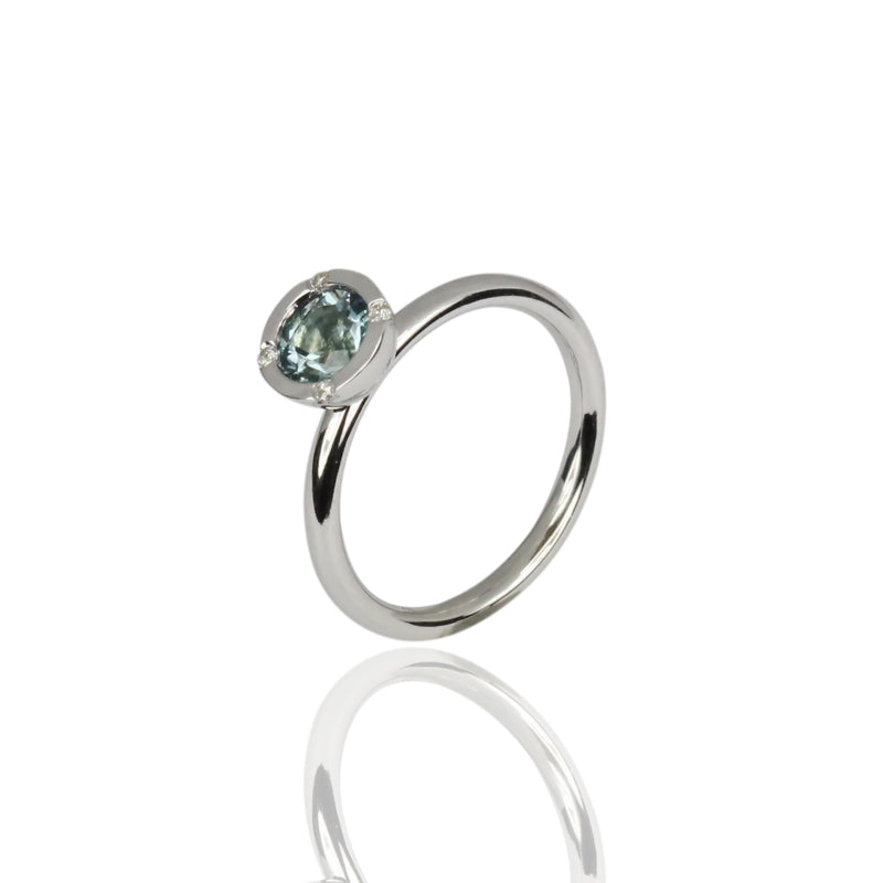 14k Gold Stackable Ring - White Gold - Aquamarine