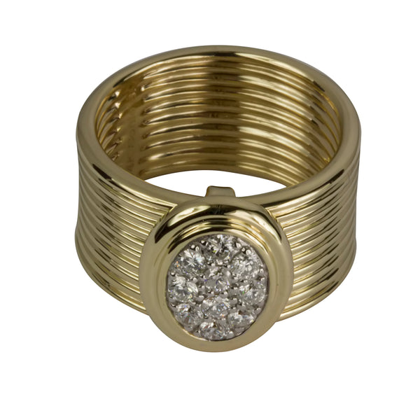 14k Gold Ridge Texture Diamond Cluster Ring