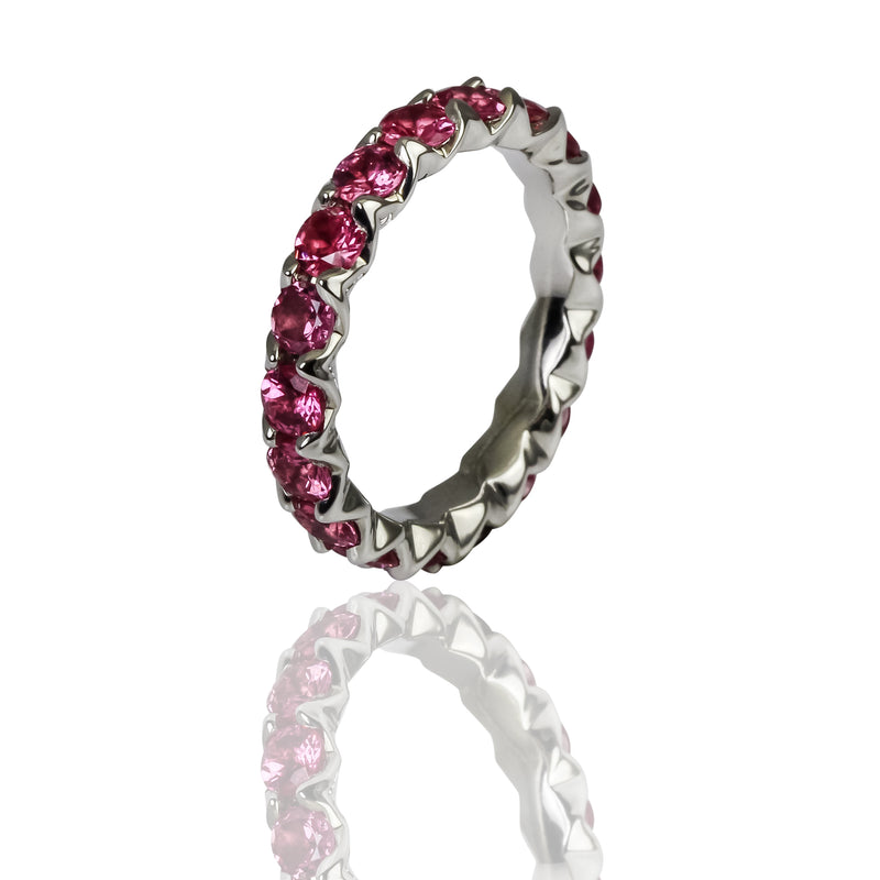 14k Gold Pink Spinel Eternity Band Ring