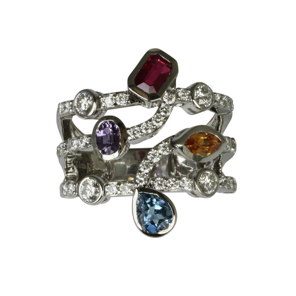 14k Gold Multi Shape Gemstone & Diamond Flex Ring