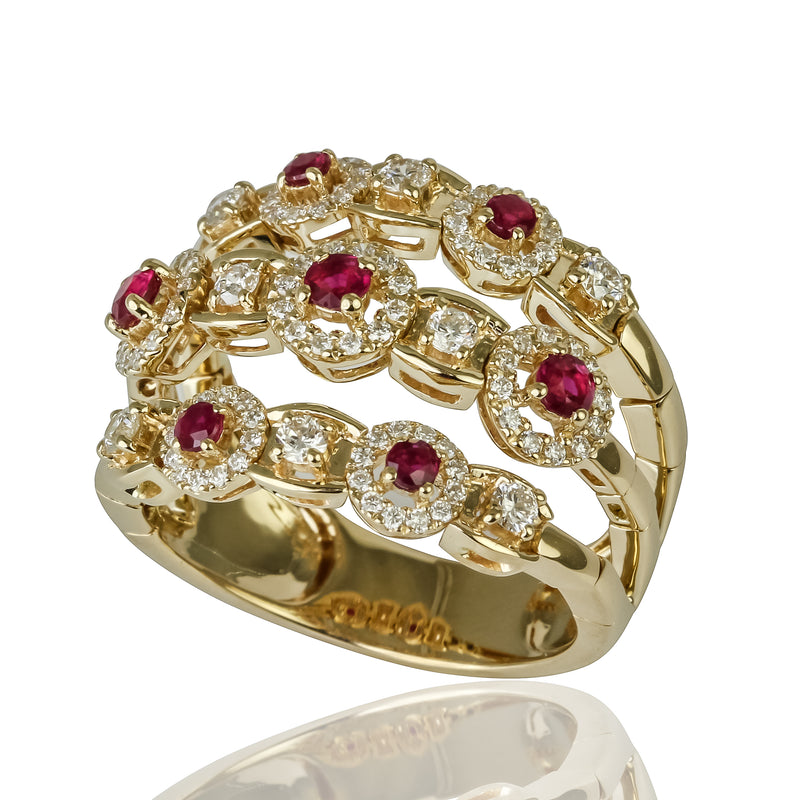 14k Gold Ruby & Diamond Flex Ring