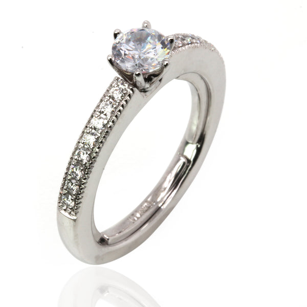 14k Gold Side Diamond Accent Everfit Engagement Ring