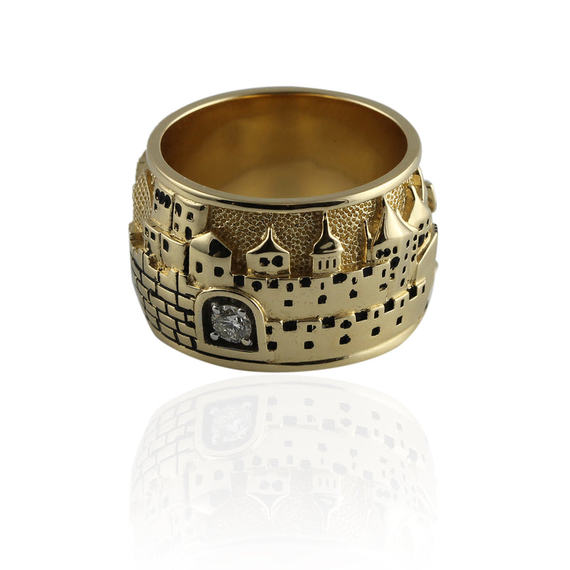 14k Gold & Diamond Jerusalem Skyline Ring