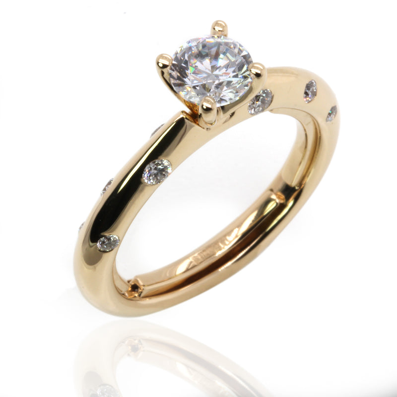 14k Gold Scattered Diamond Accent Everfit Engagement Ring
