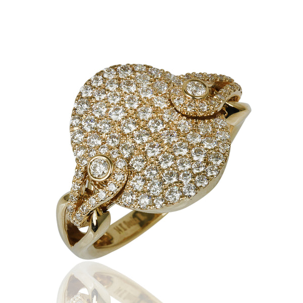 14k Gold Diamond Pave Oval Rocker Ring