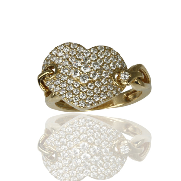 14k Gold Diamond Pave Heart Link Ring
