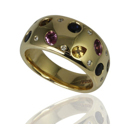 14k Gold Multi-Color Sapphire & Diamond Channel Ring
