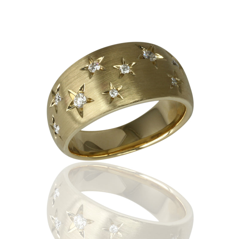 14k Gold Scattered Stars Wide Band Ring