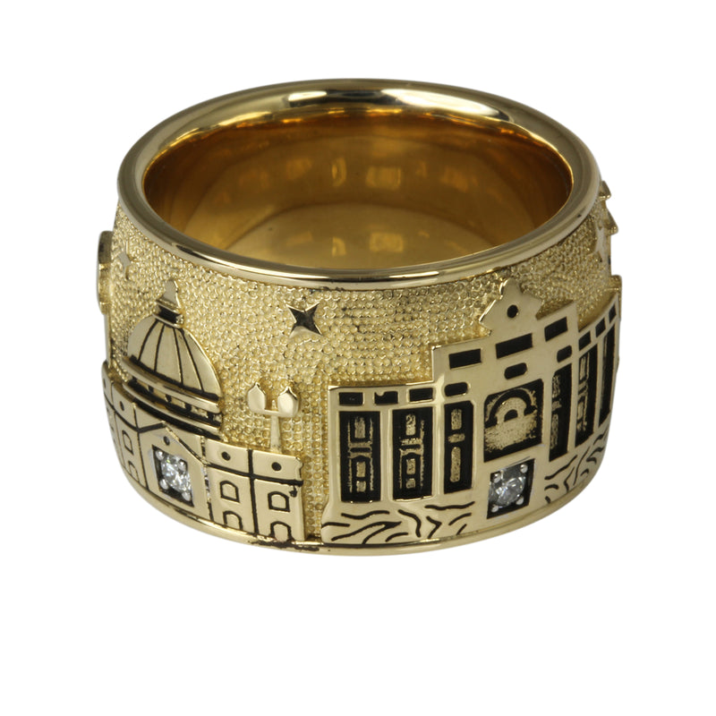 14k Gold & Diamond Rome Skyline Ring