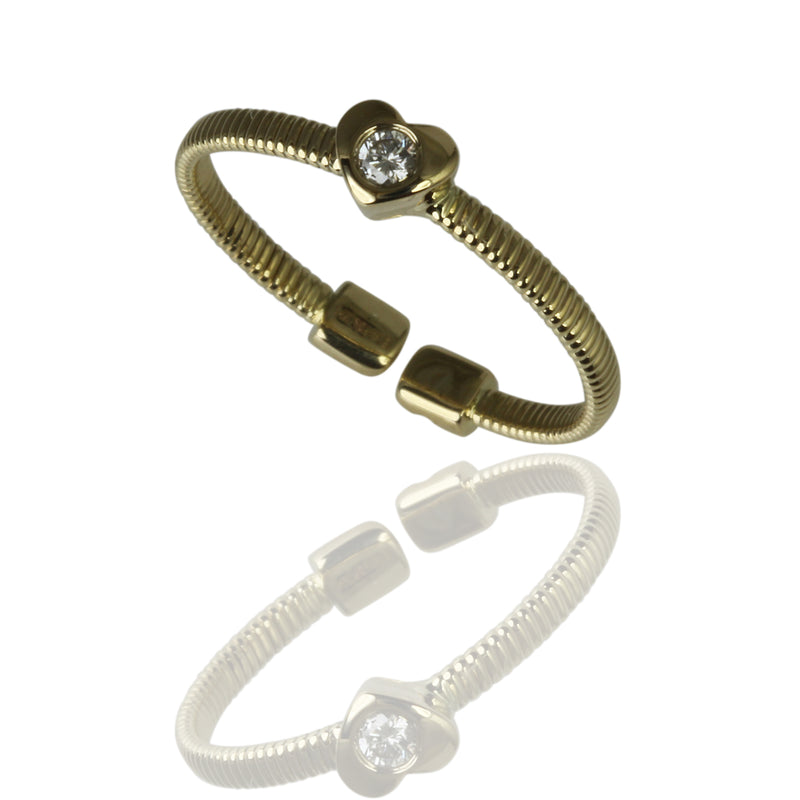 14k Gold Heart & Diamond Flex Stack Ring