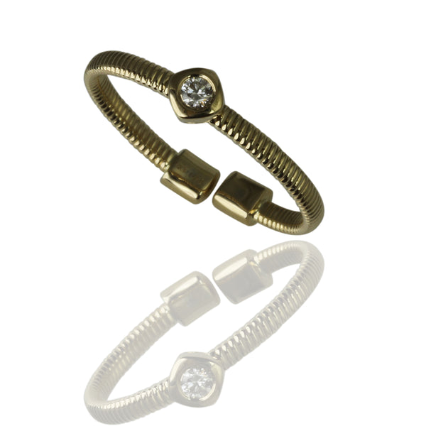 14k Gold Cushion Diamond Station Flex Ring