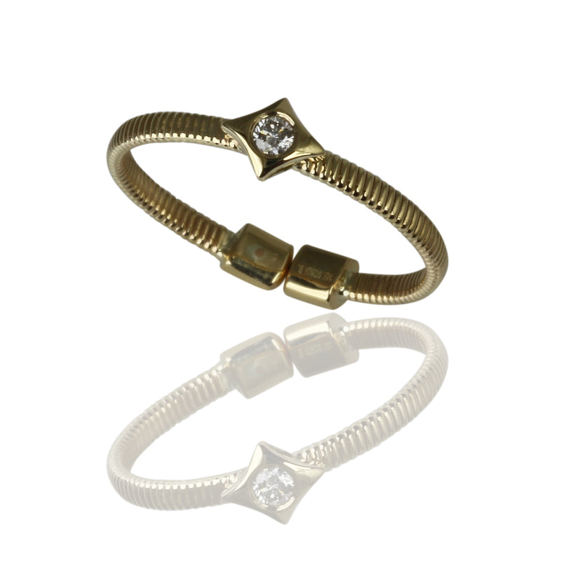 14k Gold Long Diamond Flex Stack Ring