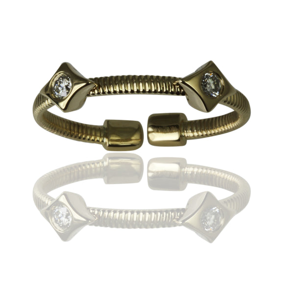 14k Gold Double Long Diamond Flex Stack Ring