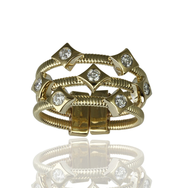 14k Gold Long Diamond 3 Row Flex Ring