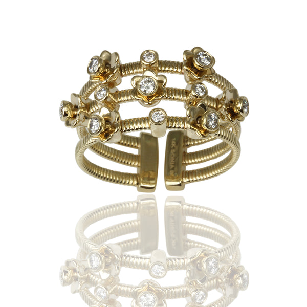 14k Gold Dancing Diamonds FLower Station 3-Row Flex Ring