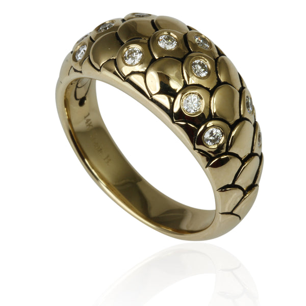 14k Gold & Diamond Snake Scales Ring