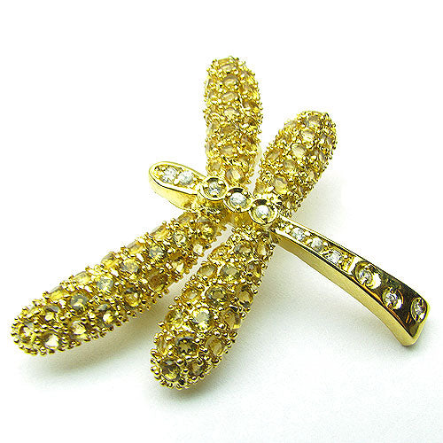 Gold Plated SS Citrine & White Zircon Dragonfly Brooch