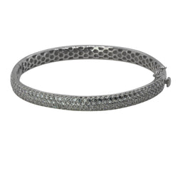 Gold Plated SS 8'' Pave Eternity Bangle Bracelet
