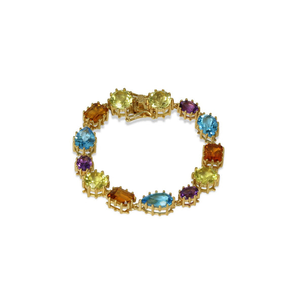 Yellow Gold Plated SS Multi-gemstone Bracelet