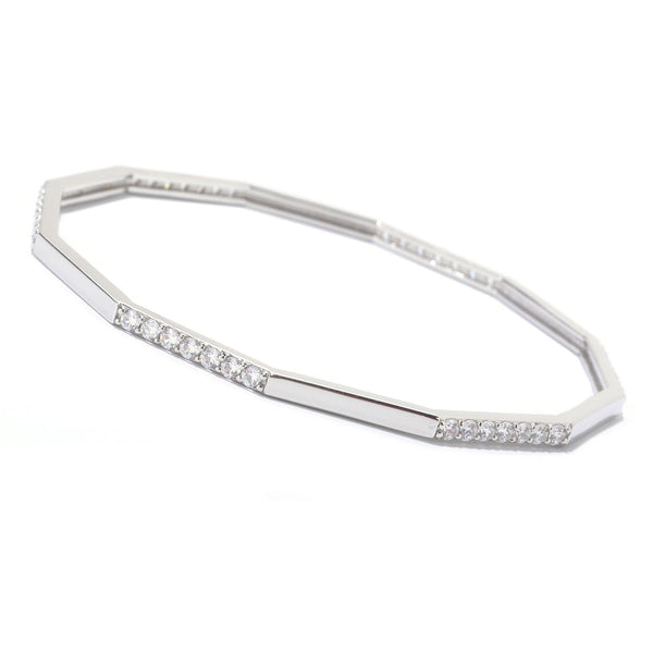 Platinum Plated Ss 8 1/2'' Station Fancy Bangle Bracelet