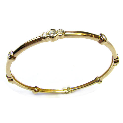 Plated Ss 8 1/2'' Bezel Station Bangle Bracelet