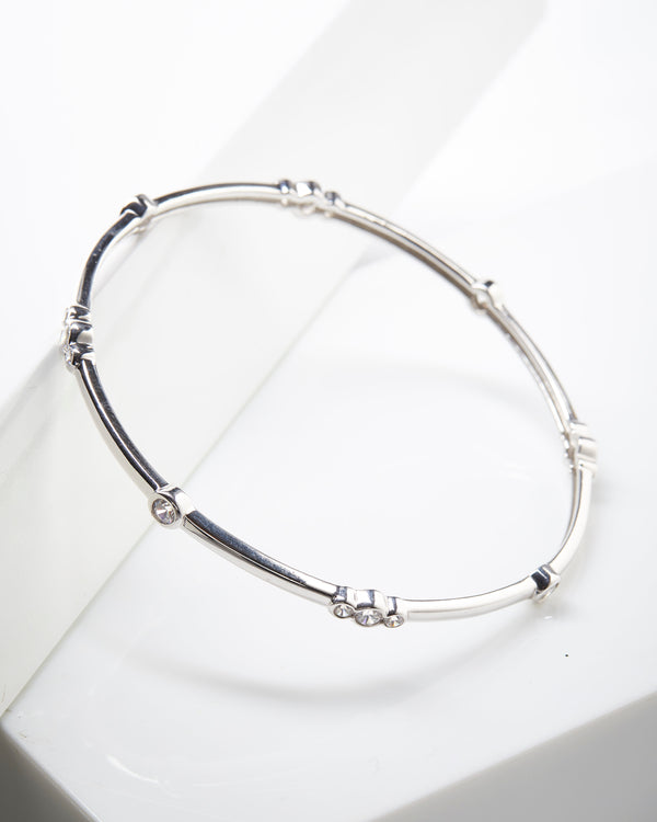 Plated SS Bezel Station Bangle Bracelet