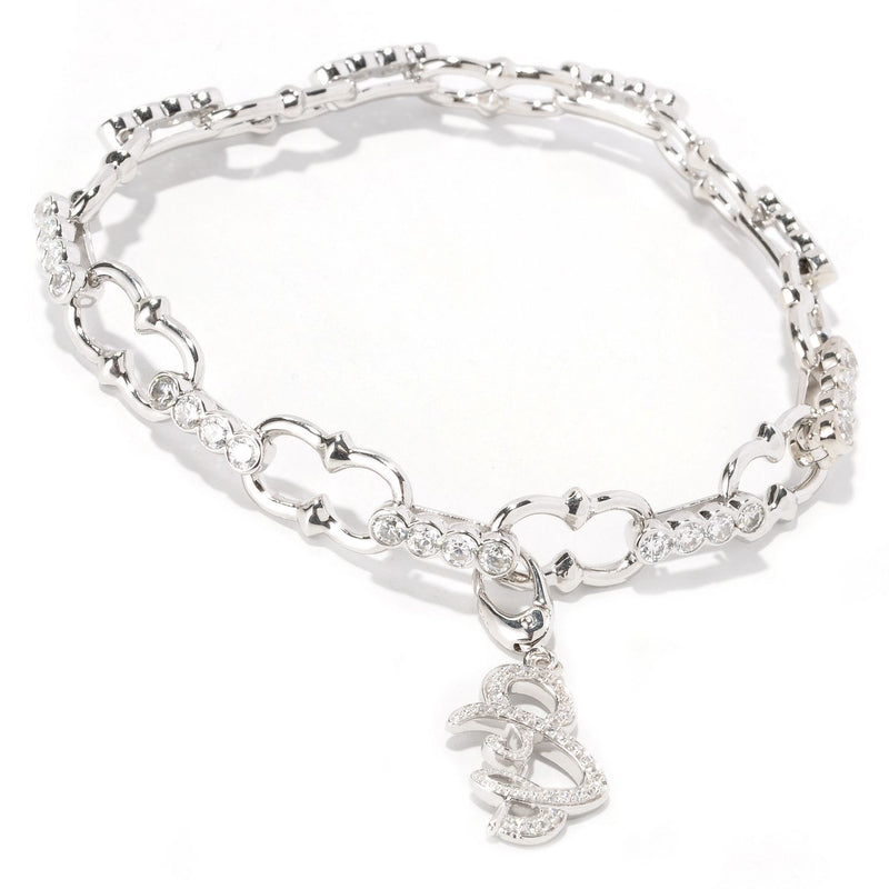 Plated SS 8'' Bezel Set Bracelet With Charm