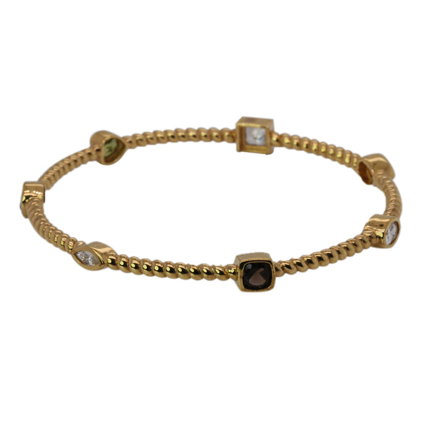 Gold Plated SS Multi Gemstone Station Bangle Bracelet