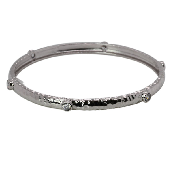 Gold Plated SS Bezel Set CZ Hammered Bangle Bracelet