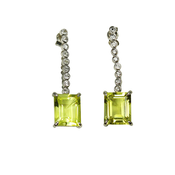 Platinum Plated Sterling Silver Lemon Quartz Earrings
