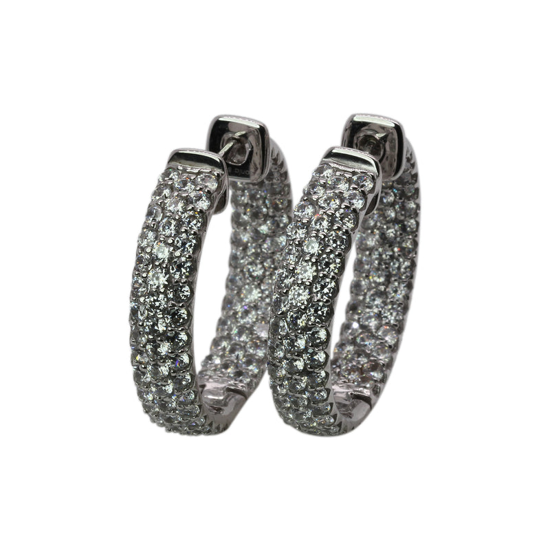 Plated SS & Cz Pave Hoop Earrings
