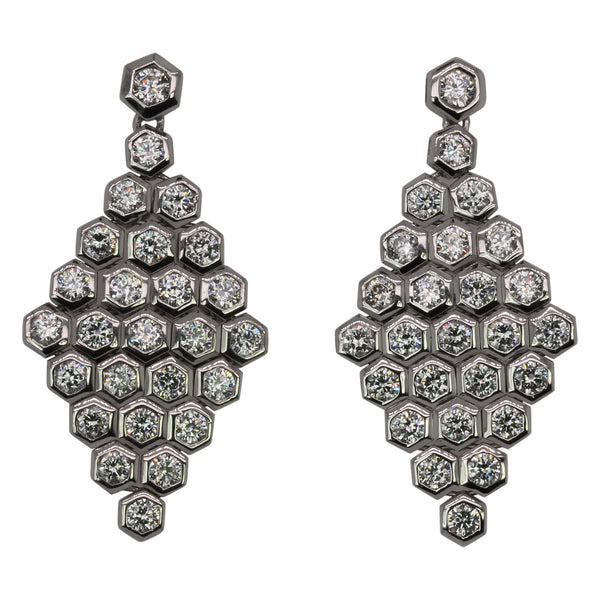 SS & CZ Honeycomb Drop Earrings