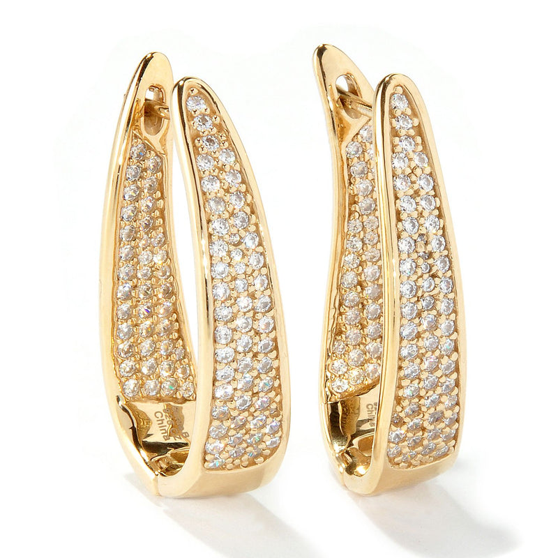 Plated SS Inside-out Pave Hoop Earrings