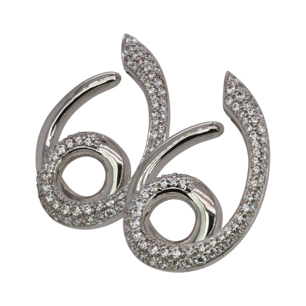 SS Cubic Zirconia Swirl Earrings